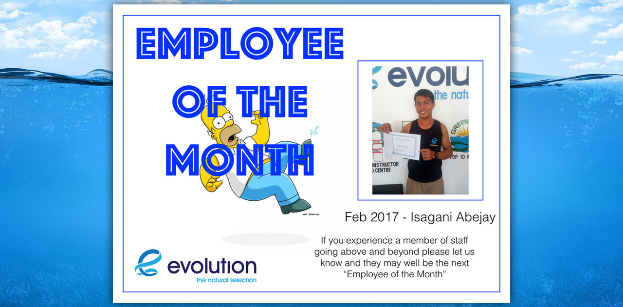 evolution diving resort employee of the month february 2017