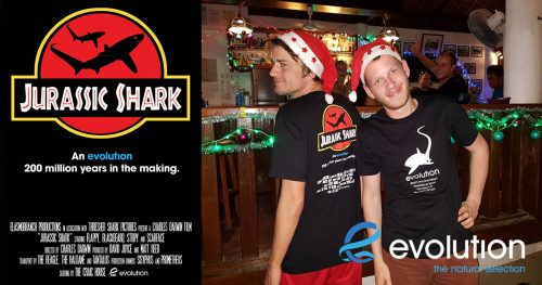 jurassic shark t shirt evolution diving resort